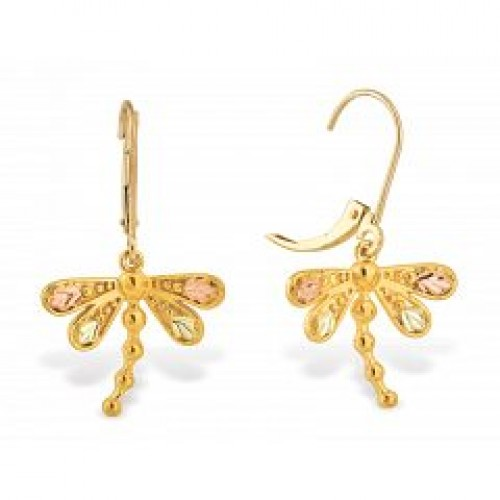 G30086lr Bh Gold Dragonfly Earrings