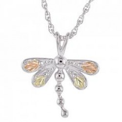 MR20086 BH Gold on Silver Dragonfly Pendant