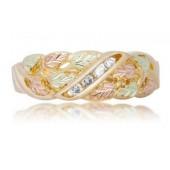 Men's Black Hills Gold Wedding Ring w/ Diamonds G1477D-Special