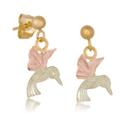 BH Gold Hummingbird Ball Post Earrings - GLER544