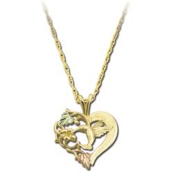 BH Gold Hummingbird Pendant in Heart GLPE793