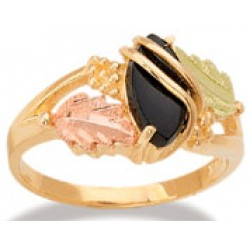 LR2874 - Women's Black Hills Gold Ring with Synthetic Stone