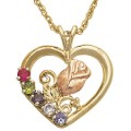 GL03593-SY Black Hills Gold Heart with Rose Mother's Pendant with Synthetic Stones