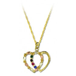 GLPE899-SY Black Hills Gold Dual Heart Pendant with Synthetic Stones