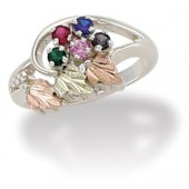 MRLLR2251B-GN -Special Order - Using White Gold Women's Mother's Ring w/ BHG Leaves & Genuine Stones