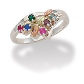 MRLLR3035B-SY Women's Sterling Silver Mother's Ring w/ BHG Leaves & Synthetic Stones