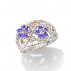 BH Gold on Silver Flower Ring w/ Lavender Blue Cubic Zirconias - MRLLR986-104