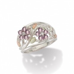 BH Gold on Silver Flower Ring w/ Synthetic Gems - 06 June - MRLLR986-306