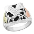 Men's BH Gold Eagle on Sterling Silver w/ Onyx Ring - MRSD1844OX