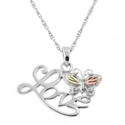 BH Gold on Silver Butterfly Love Pendant - MR20011