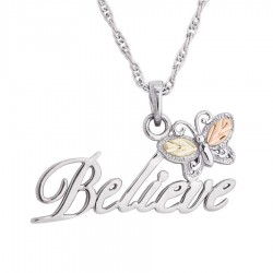 BH Gold on Silver Butterfly Believe Pendant - MR20185