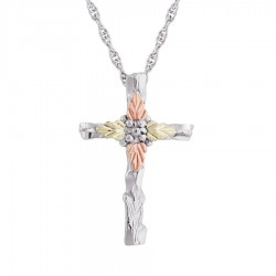 BH Gold on Silver Carved Cross Pendant Necklace - MR2250