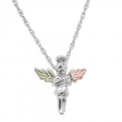 BH Gold on Silver Angel Pendant Necklace - MR2259