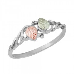 Two Leafed Women's BH Gold on Sterling Silver Ring - MR140