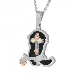 BH Gold on Silver Cowboy Boot and Cross Pendant - MR20464