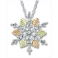 PE973/SS - Gold & Silver Snowflake Pendant
