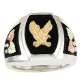 Men's BH Gold Eagle on Sterling Silver Onyx Ring - MRC40812O-ANGS183
