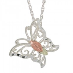 BH Gold on Silver Butterfly Pendant - MRC25721-GS