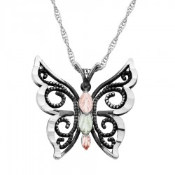 BH Gold on Silver Antiqued Butterfly Pendant - MRC25785-OX-GS