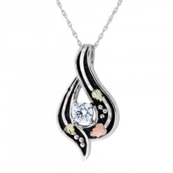 BH Gold on Silver Antiqued Cubic Zirconia Pendant - MRC25943ZANGS