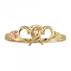 Women's BH Gold Intertwined Hearts with Diamond Ring - GC4586D