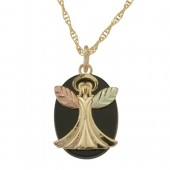 25305O - Black Hills Gold Guardian Angel Pendant on Onyx