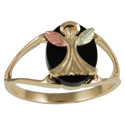 40821O - Black Hills Gold Guardian Angel Ring on Onyx