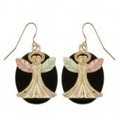 50422O - Black Hills Gold Guardian Angel Earrings on Onyx