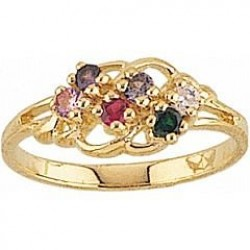 FR4-GN Women's Black Hills Gold Mother's Ring w/ Genuine Stones