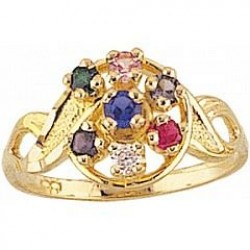 FR9-GN Women's Black Hills Gold Mother's Ring with Genuine Stones