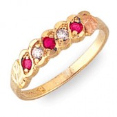 Women's Black Hills Gold Ring with Diamonds & Pink Tourmaline - Special Order  G1272DPT-Special