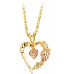 Black Hills Gold Heart Within Heart Pendant G2077