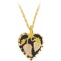 Heart Shaped Black Hills Gold Pendant with Black Onyx G2101OX