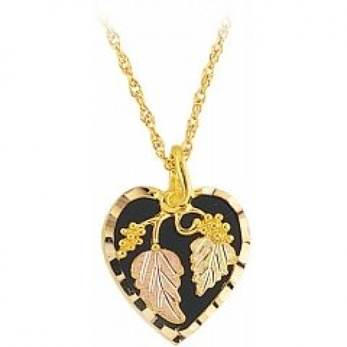 Black hills gold jewelry online store heart shaped black hills gold pendant with black onyx g2101ox aloadofball Images