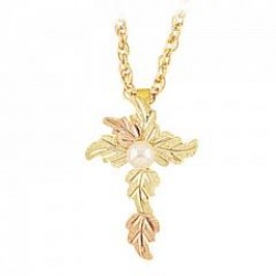Black Hills Gold Cross with Pearl G2156P