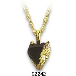 Black Hills Gold Heart Shaped Pendant w/ Black Onyx G2242OX