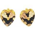 Black Hills Gold Heart Earrings w/ Black Onyx G3020OX