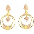 Black Hills Gold Double Hoop Earrings with Center Leaf G3225LD