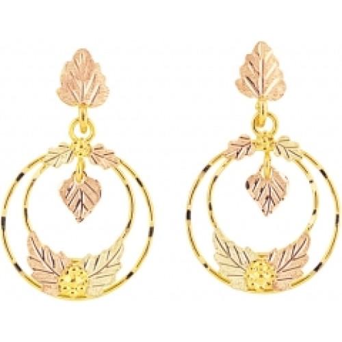 Black Hills Gold Leaf Hoop Earrings