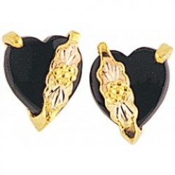 Black Hills Gold Heart Shaped Earrings w/ Black Onyx G3242OX
