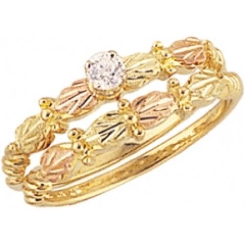 G408ew Women S Black Hills Gold Engagement Wedding Ring Set