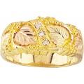 Men's Black Hills Gold Leaves Wedding Ring w/ Diamonds G46D