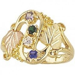 G900-GN Women's Black Hills Gold Mother's Ring w/ Genuine Stones