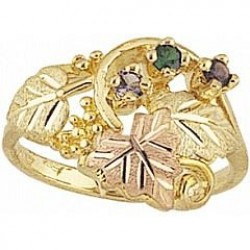 Women's Black Hills Gold Mother's Ring w/ Genuine Stones G905-GN