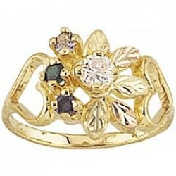 G907-SY Women's Black Hills Gold Mother's Ring w/ Synthetic Stones
