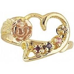 G923-GN Women's Black Hills Gold Mother's Ring w/ Genuine Stones