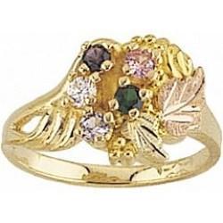 G924-GN Women's Black Hills Gold Mother's Ring w/ Genuine Stones