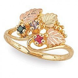 G925-GN Women's Black Hills Gold Mother's Ring w/ Genuine Stones