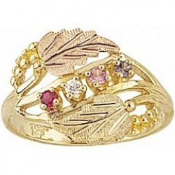 G926-GN Women's Black Hills Gold Mother's Ring w/ Genuine Stones