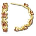BH Gold Semi Hoop Roses Earring Set GL01566